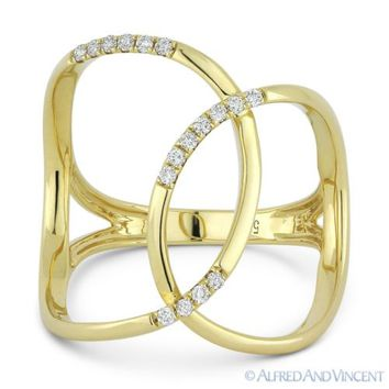 0.14ct Round Cut Diamond Right-Hand Overlap Loop Fashion Ring in 14k Yellow Gold