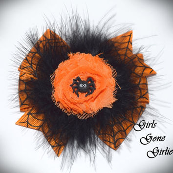 Halloween hair bow , baby Halloween , toddler Halloween hairbow , orange and black spider bow , girl Halloween , hair clip , marabou puff