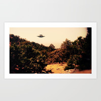 UFO Over Landscape by Raphael Terra Art Print by esotericaartagency