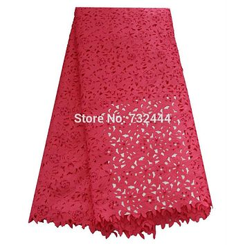 Beaded laser cut lace fabric high quality  african lace fabrics with stones