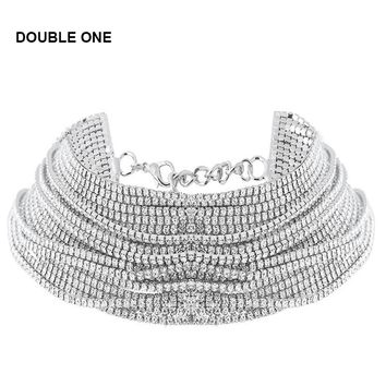 DOUBLE ONE Women's Wide Neck Rhinestone Choker Necklace 2017 Big sparkly choker Fashion jewelry Trendy Chocker