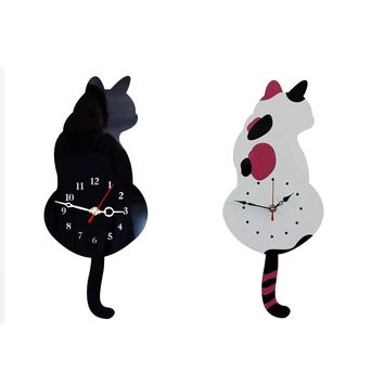 Cute White or Black Cat Wagging Tail  Wall Clock