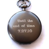 Groom Gift Pocket Watch, Engraved Mens Pocket Watch, Monogrammed Watch, Personalized Groomsman Gift, Gift for Groom, Wedding party Gifts