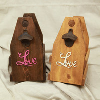 Love Wedding or Anniversary Six Pack Wooden Beer Caddy With Cast Bottle Opener