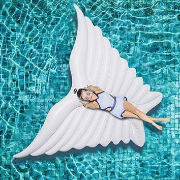 Jasonwell Giant Inflatable Angel's Wing White Pool Float with Rapid Valves Summer Outdoor Swimming Pool Party Lounge Raft Decorations Toys for Adults