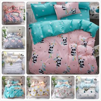 Cool Panda Pattern Duvet Cover 3pcs/4pcs Bedding Set Kids Soft Cotton Bed Linens 150x200 1.2m 1.35m 1.5m 1.8m Single Twin Queen SizeAT_93_12