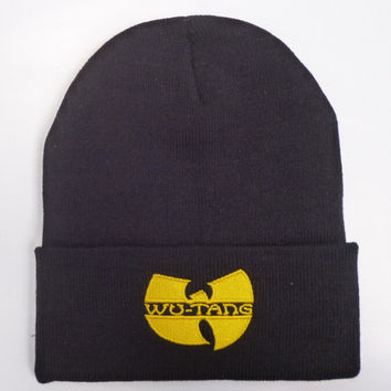 Unisex Fashion Winter WU TANG CLAN Beanie Hat For Women & Men Acrylic Black Knitted Cap Ski Crochet Yellow
