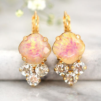 Opal Earrings, Opal Drop Earrings, Bridal Opal Jewelry, Opal Gold Earrings, Gift For Her, Drop Earrings, Swarovski Opal Dangle Earrings