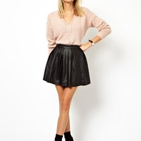 ASOS Skater Skirt in Leather Look - Black $2