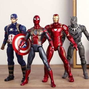 Avengers: Infinity War 4styles  Spider Man Iron Man Captain America Black Panther Movable Model Dolls Decoration Figurine Toys