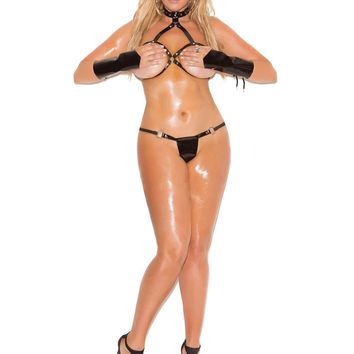 Plus Size 2 piece set Vinyl cupless bra and matching g-string  *Available Boxed Black