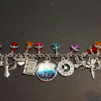 Once upon a time stainless steel charm bracelet