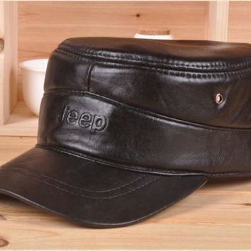 JEEP New Men's(Unisex)100% Real Leather Baseball Hats Flat Duck Tongue Caps