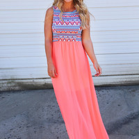 Pink Floral Print Sleeveless Maxi Dress