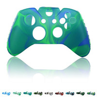 Skque® Soft Silicone Camouflage Skin Case Cover for Microsoft Xbox One Controller, Blue & Green