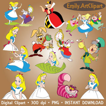 Alice in Wonderland Clipart Party Digital Images Alice Disney Clip Art Scrapbooking Invitations Printable Graphic INSTANT DOWNLOAD 300dpi