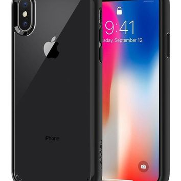 Spigen Ultra Hybrid iPhone X Case with Air Cushion Technology and Hybrid Drop Protection for Apple iPhone X (2017) - Matte Black (Certified Refurbished)