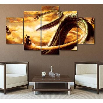 5 Piece Wall Art Canvas Painting Cartoon Dragon Ball Modular Art Picture For Living Room Decoration Print Pictures No Frame