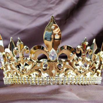 Awesome Men Full Round Gold Crown Imperial Medieval Large Clear Crystals Rhinestones Cosplay