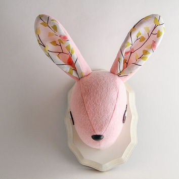 Mounted Felt Plush Bunny/Rabbit Head - Pink & Cream Plaque