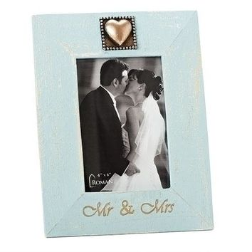 "Something Blue Wedding Picture Frame 5""X7"" Mr And Mrs Photo Display Keepsake"