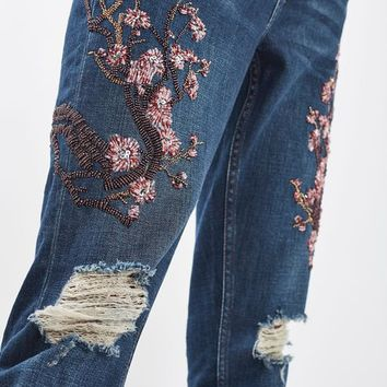 MOTO Limited Edition Blossom Beaded Lucas Jeans