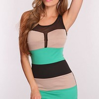 Taupe Multi Color Block Dress