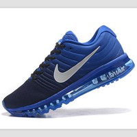 """NIKE"" Trending Fashion Casual Sports Shoes AirMax section Blue white soles"