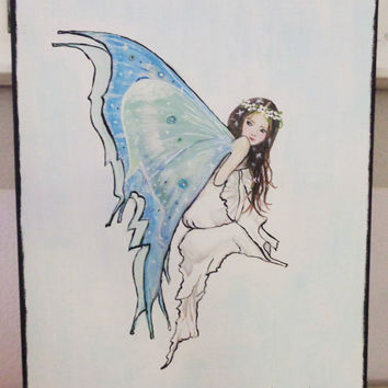 Blue Fairy Mixed Media Painting, Brown hair White Gown Wall Art. Original Artwork on Canvas.