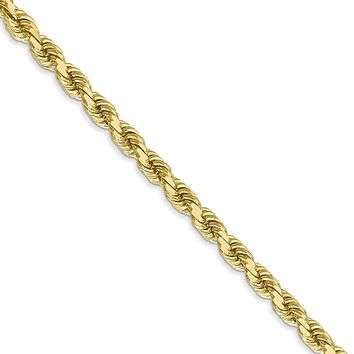 Men's 4mm 10k Yellow Gold Diamond Cut Solid Rope Chain Necklace, 22in