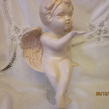 Ceramic Angel, Angel Figurine Blowing a Kiss, Shelf Cherub Statue hand painted by B. Marsh