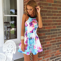 Floral Print Halter Sleeveless Skater Dress