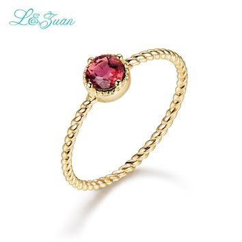 L&Zuan 14K Gold Natural Tourmaline Round Red Stone Wedding Rings for Women Simple Design Love Promise Ring Fine Jewelry 0013-2
