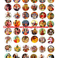 "hindu krishna gods goddesses printable collage sheet women men clipart digital download  1"" inch circle graphics India deities images"