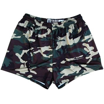 Army Camo Womens & Girls Sport Shorts by Mile End