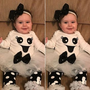 US Canis Newborn Infant Baby Girl 4pcs Halloween Clothes Romper Top Skirt Outfit