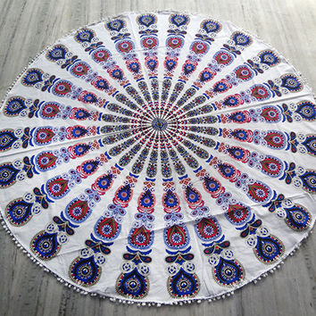 white Mandala Round beach throw, mandala Table cover ,Bed throw ,mandala yoga mat ,round beach towel,roundie ,Indian round,beach accessories