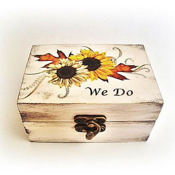 Sunflower wedding rings box, We Do, Ring bearer Wooden ring box Ring holder Custom wedding  Box for rings Sunflower Personalized wedding box
