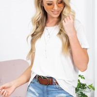 Heidi Basic Short Sleeve Top | White