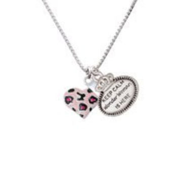 Pink Cheetah Print Heart with Nurse Hat - Keep Calm Wonder Woman is Here Necklace