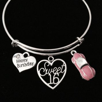 Pink Car Sweet 16 Heart Adjustable Bracelet Expandable Charm Bangle Gift Happy Birthday