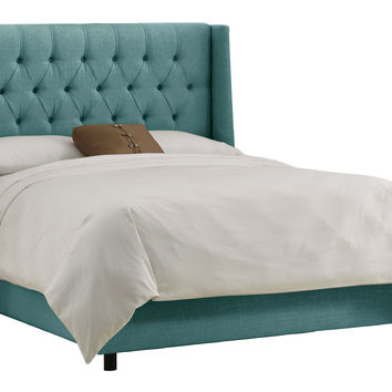 Alexander Tufted Wingback Bed, Turquoise, Wing Beds
