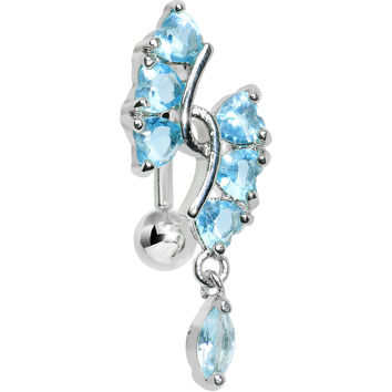 Aqua Gem Hearts and Dangling Drop Top Mount Belly Ring