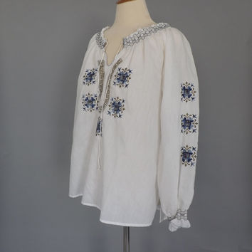 Vintage 1960's 1970's Blue White Hand Embroidered Greek Peasant Blouse Traditional Folk Medium Ethnic Shirt Boho Festival Mediterranean Top
