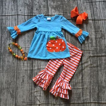 children Fall/Winter Halloween party clothing girls blue top with pumpkin sets with orange stripes ruffle pants with accessories