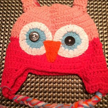 CROCHET HAT -  PINK ON PINK OWL