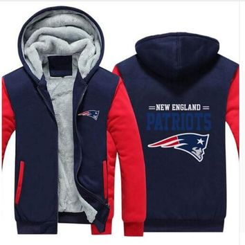 Dropshipping For Men Winter Jacket Vikings Rams Panthers Jaguars Patriots Cowboy Zipper Printing Thicken Fleece Hoodie US Si