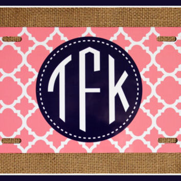 License Plate Monogrammed Gifts Monogram Car Accessories Personalized Car Tag Car Tags License Plates Two Patterns of Your Choice