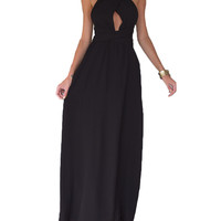 made2envy Halter Twist Cross Back Chiffon Summer Maxi Dress