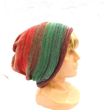 knit cotton hat knitted cotton cap striped cloche green red bordo beanie multicolor tam eco friendly slouche hipster style knitting cap